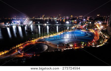 Pattaya City Port And Downtown At Night From Pratumnak View Point