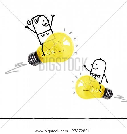 Hand Drawn Cartoon Man and Woman Riding on  Light Bulbs Rockets