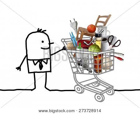 Hand Drawn Cartoon Man with Full Shopping Cart