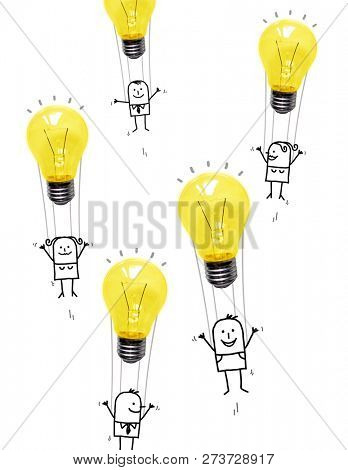 Hand Drawn Cartoon People in the Air with  Light Bulbs Balloons