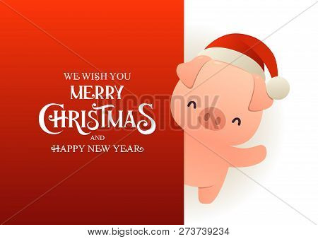 Cute Pig In Santa Hat Stands Behind Red Signboard Advertisement Banner With Text Merry Christmas And