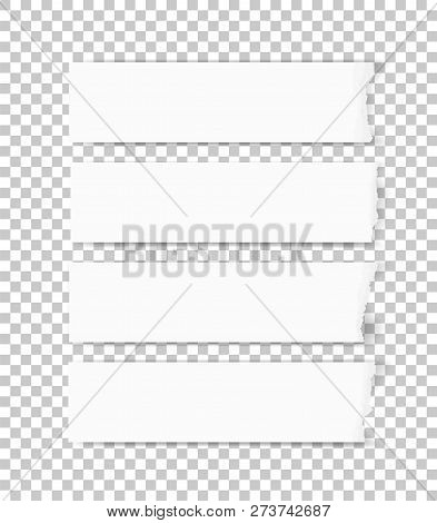Ripped Paper Texture. Torn Paper Edges Background. White Paper For Banner Tag Background. Vector Ill