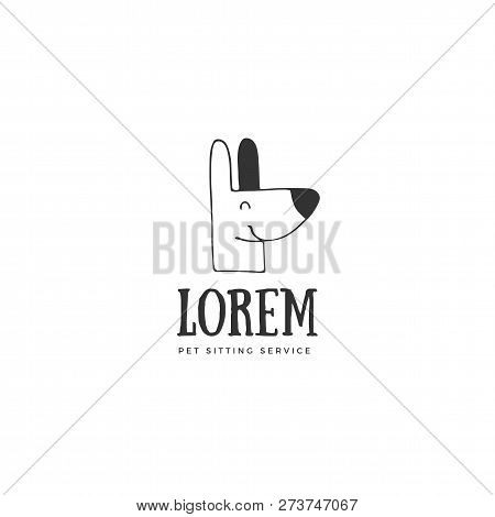 Vector Hand Drawn Logo Template For Pets Related Business. Head Of A Happy Dog. For Pets Related Bus