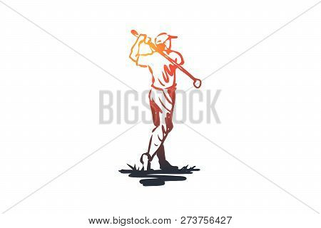 Golf, Man, Ball, Game, Sport Concept. Hand Drawn Man Playing Golf Outdoor Concept Sketch. Isolated V