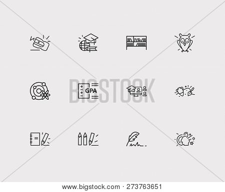 Elearning Icons Set. Archaeology And Elearning Icons With Notepad, Online Course And Astrophysics. S