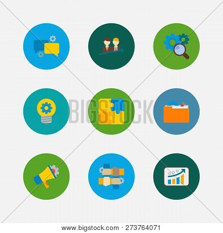 Technology Collaboration Icons Set. Successful Partnership And Technology Collaboration Icons With P