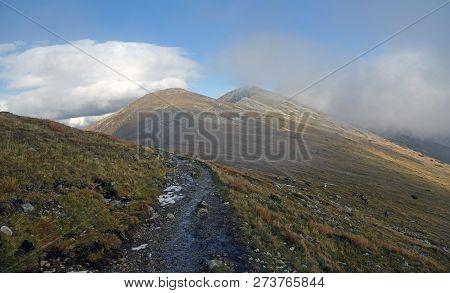 Autumn Nizke Tatry Mountains Near Sedlo Polany Mountain Pass In Slovakia With Hiking Trail, Hills Co
