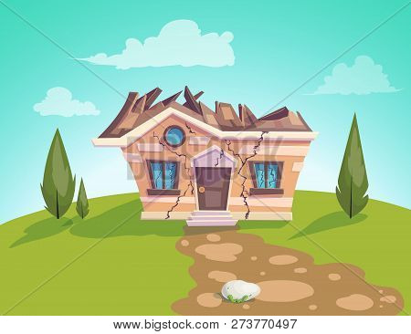 House Destroyed Facade Vector. Cracks In Walls Of Home. Property Insurance. Illustration Of A Cartoo