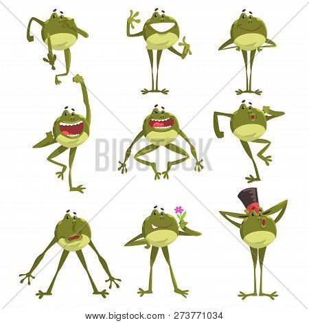 Emotional Green Funny Frog, Amfibian Animal Cartoon Character In Different Poses Vector Illustration