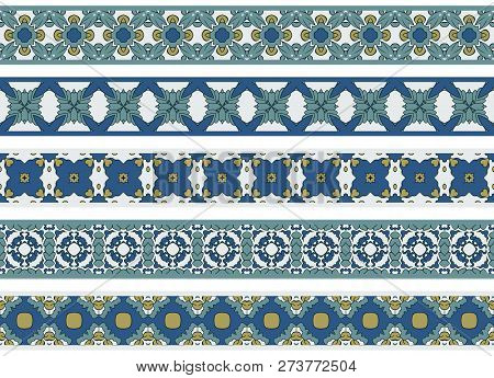 Set Of Five Illustrated Decorative Borders Made Of Abstract Elements In White, Blue, Yellow, Turqois