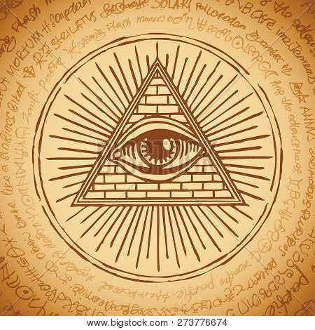 Vector Banner With Eye Of Providence. All-seeing Eye Inside Triangle Pyramid. Symbol Omniscience. Lu