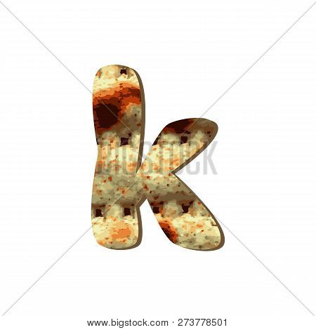 Rounded English Lowercase Letter K With Matza Texture. Font For Passover. Vector Illustration On Iso
