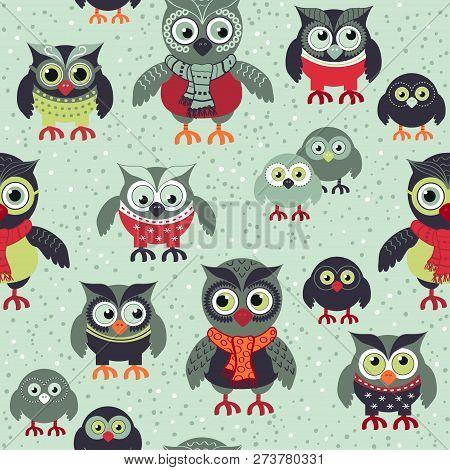 Owls In Winter 5 - Pattern.eps