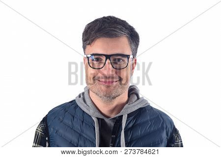 A Sympathetic Man On A White Background