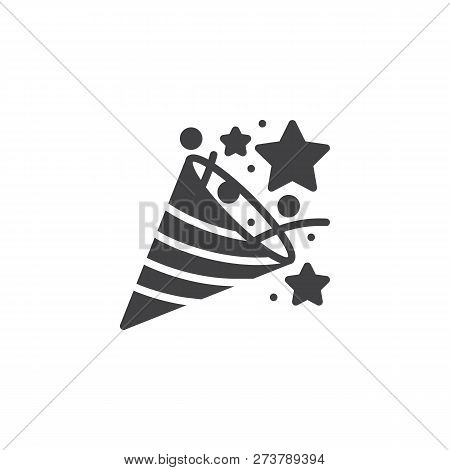 Confetti Popper Vector Icon. Filled Flat Sign For Mobile Concept And Web Design. Firecracker, Firewo