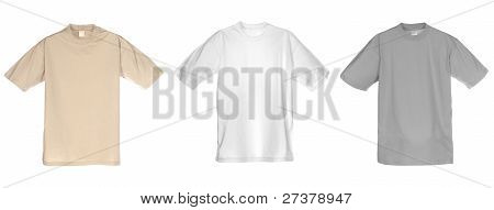 Photograph Of Three Blank T-shirts, Beige, White And Grey.