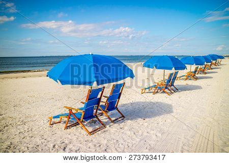 A Beach Chaise Longue Fronting The Beach In Fort Myers, Florida