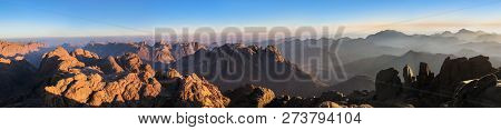 Panorama of Mount Sinai in Sinai Peninsula of Egypt. Dawn of the holy summit of Mount Sinai, Aka Jebel Musa, know also as Mount of Ten Commandments or Mount of Moses. poster