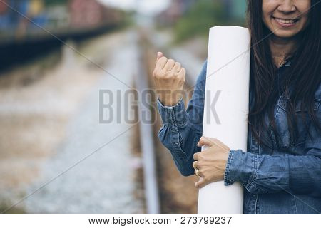 Professional Woman Manager Feeling Success And Victory Sign Hand After Complete Job With Better Work