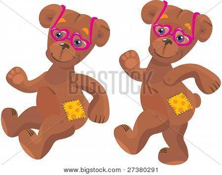 A happy cartoon teddy bear with pink heart sun glasses
