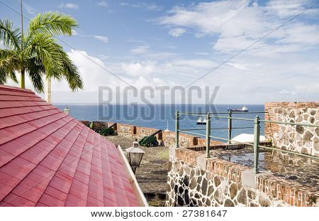 cannons over harbor Fort Oranje Oranjestad Sint Eustatius island in the Caribbean Netherlands poster