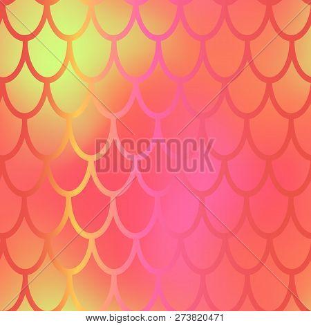 Orange Yellow Mermaid Vector Background. Fish Scale Pattern. Mermaid Seamless Pattern Tile. Holograp
