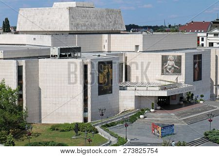 Novi Sad, Serbia - May 20, 2018: Serbian National Theatre Building Entrance In Novi Sad During Sunny