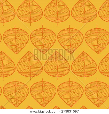 Golden Leaves Pattern On A Yellow Background. Seamless Vector Pattern. Autumn Leaf Seamless Vector P