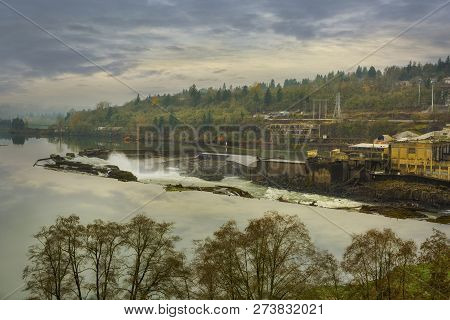 Willamette Falls In Oregon City During Fall Season Usa