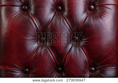 Texture And Pattern Of Red Dark Leather. Luxury Texture, Luxury Leather Button-tufted Red Chair Text