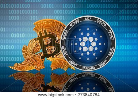 Cardano Coin Stands In Front Of Cracked Coin Bitcoin On Binary Code Background; Cardano Leader; Bitc