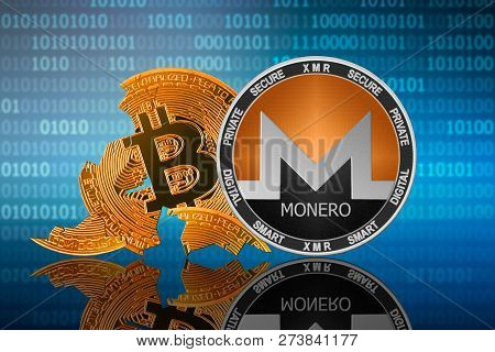 Monero Coin Stands In Front Of Cracked Coin Bitcoin On Binary Code Background; Monero Leader; Bitcoi