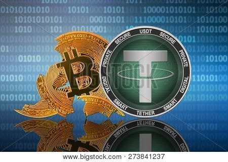 Tether Coin Stands In Front Of Cracked Coin Bitcoin On Binary Code Background; Tether Leader; Bitcoi