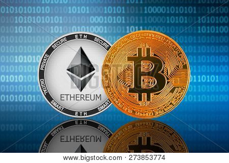 Bitcoin (btc) And Ethereum (eth) Coin On The Binary Code Background; Bitcoin Vs Ethereum