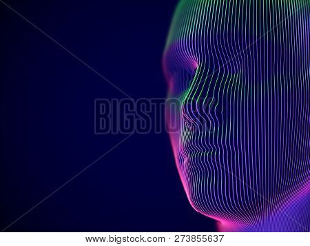 Virtual Reality Or Cyberspace Concept: Model Of Male Face. Digital Human Or Robot Head - Abstract Vi