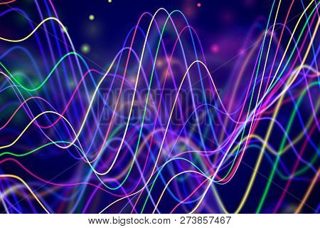 3d Sound Waves With Floating Particles. Data Abstract Visualization. Digital Concept: Virtual Landsc