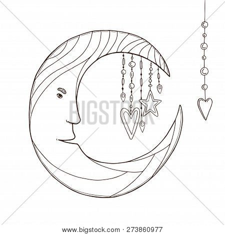 Moon Character For Kids Coloring Book. Vector Children Art Print With Stars And Moon. Slumber Party