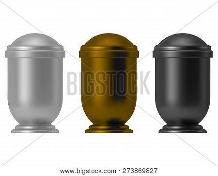 Metal Ash Urn Set Isolated On White Background