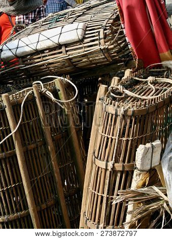 Traditional Fishing Baskets Used To Catch Crabs In Cambodia