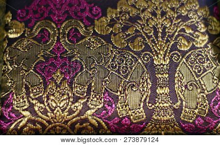Coloured Deep Pink And Gold Silk With Happy Elephants (raised Trunk) In Asia
