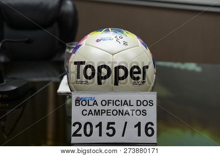 Rio, Brazil - December 12, 2018: Ball Of The Championship Carioca 2015/16 On Display At The Launch O