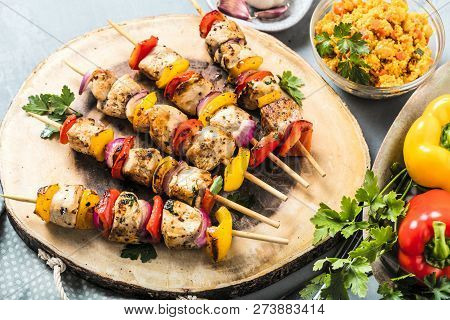 Grilled Skewers Of Vegetables And Meat On The Table.