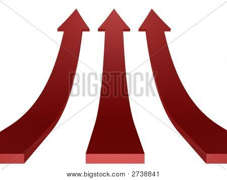 abstract red arrows grow up isolated on white background poster