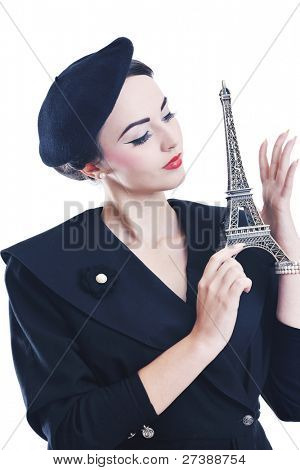 beautiful young woman hold paris symbol eiffel tower isolated on white background and representing travel and tourist concept poster