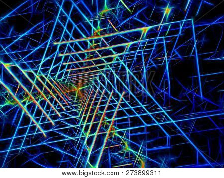 Neon Glowin Tunnel - Abstract Computer-generated 3d Illustration. Concept Fractal Background For Vr,