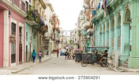 HAVANA-CUBA- DEC 5, 2018: View of one of the street of Centro Habana, one of the 15 municipalities or boroughs in the city of Havana, Cuba.