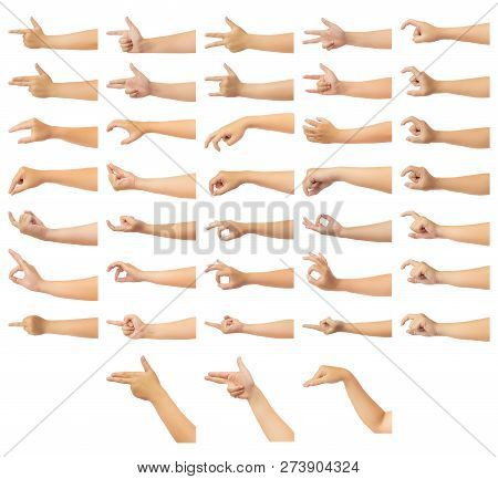 Set Of Human Hand In Multiple Gesture Isolate On White Background With Clipping Path, Low Contrast F