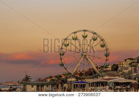 Evening Ferris Wheel Of Lacco Ameno, Ischia Island, Italy