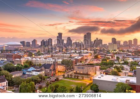 New Orleans, Louisiana, USA downtown city skyline at dawn.