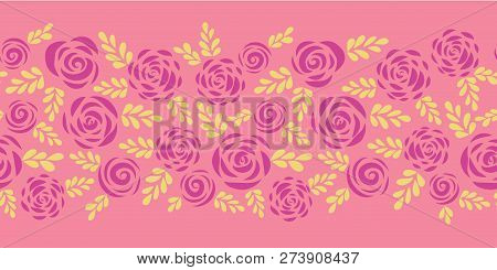 Flat Roses And Leaves Seamless Vector Border. Silhouette Floral Pattern. Flower Illustration For Sti